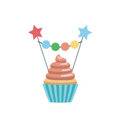 Set cupcake toppers vector
