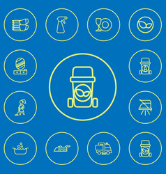 Set of 12 editable cleanup outline icons includes vector