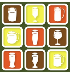Set of 9 retro icons of beer glasses vector image vector image
