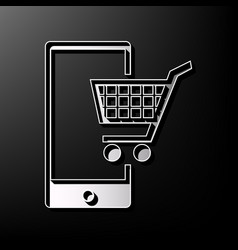 Shopping on smart phone sign gray 3d vector