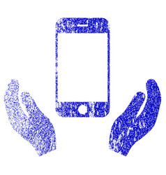 Smartphone care hands textured icon vector