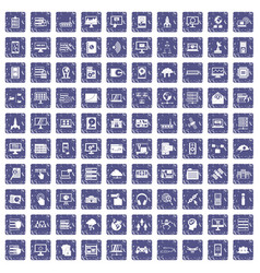 100 database and cloud icons set grunge sapphire vector image vector image