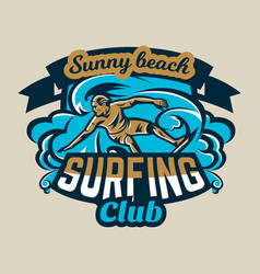 Colorful logo emblem sticker surfer drifting on vector