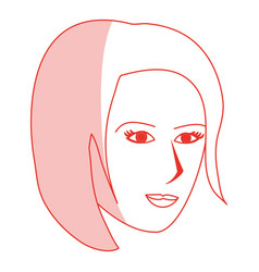 Red silhouette shading cartoon side profile face vector