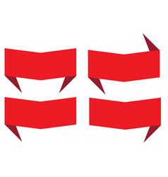 Set red banner ribbon on white background vector