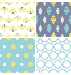 Four abstract fun motives seamless patterns set vector