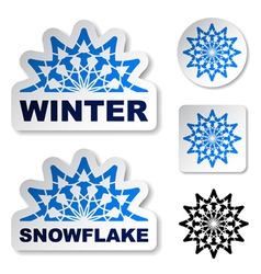 Winter blue snowflake stickers vector