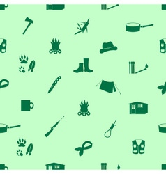 Black backwoodsman icons seamless green pattern vector