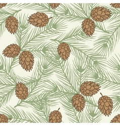 Winter seamless pattern with stylized pine vector