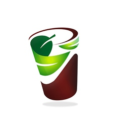 Natural leaf cup friendly logo vector