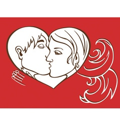 Kiss and heart vector