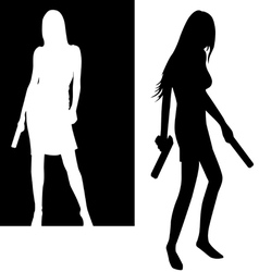 Girls with guns vector