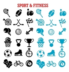 Sport and fitness icons set with items vector