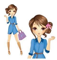 Girl in jeens dress with bag vector