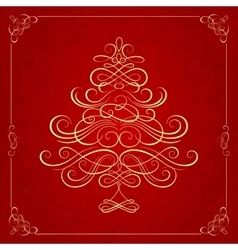 Calligraphy christmas tree on red background vector