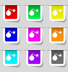 Bomb icon sign set of multicolored modern labels vector