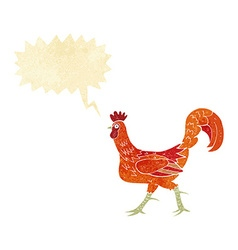 Cartoon cockerel with speech bubble vector
