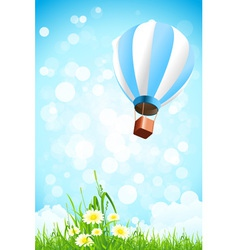 Flowers in the Grass and Hot Air Balloon in the Sk vector image