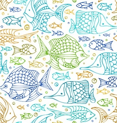 Seamless colourful doodles fish pattern vector