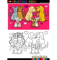 Animals in love cartoon for coloring book vector image