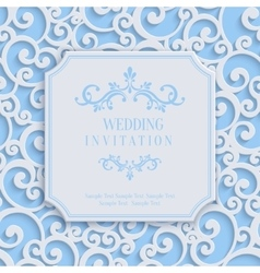 Blue 3d Vintage Invitation Card with Floral vector image