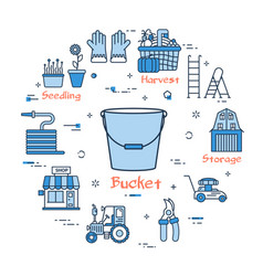 blue gardening - bucket vector image vector image