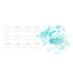 Calendar blue 2017 week starts from sunday vector