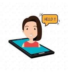 cellphone woman speech speak vector image