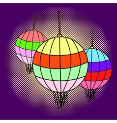 Chinese lanterns pop art vector