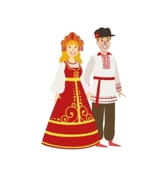 Couple in russian national clothes vector
