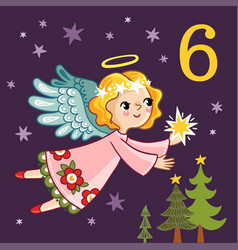 Cute angel is flying with a star in his hands vector