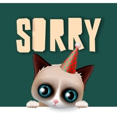 Cute grumpy cat apologize sorry card vector