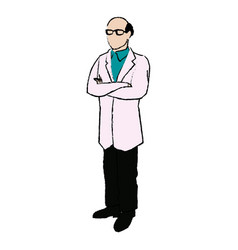 doctor male bald glasses and coat clothes medical vector image