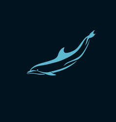 dolphin swims underwater logo sign on dark vector image vector image