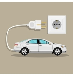 Electric vehicle car with plug vector