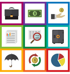 Flat icon finance set of portfolio hand with coin vector