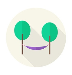 Flat nature trees with hammock circle icon with vector