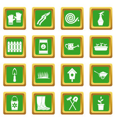 gardening icons set green vector image