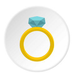 Gold ring with diamond icon circle vector