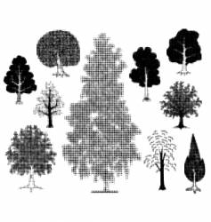 halftone trees vector image vector image
