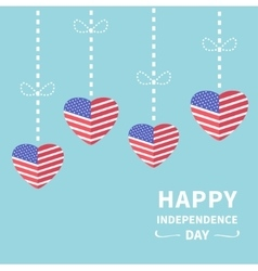 Hanging heart flags Star and strip Happy vector image