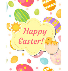 Happy easter greeting card flyer poster with vector
