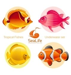 Icon set with tropical fishes - butterfly fish vector