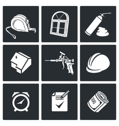 Installation windows icons set vector