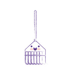 kawaii rake leaves with wooden stick in purple vector image