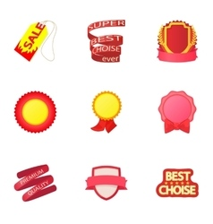 Label icons set cartoon style vector