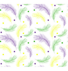 mardi gras seamless pattern with feathers purple vector image vector image