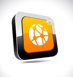 Network 3d square button vector