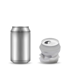 New and breaked aluminum can vector