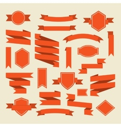 Orange ribbons and label set in flat style vector image vector image